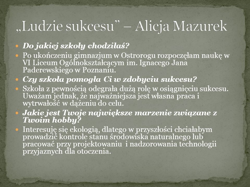 """""""Ludzie sukcesu – Alicja Mazurek"""