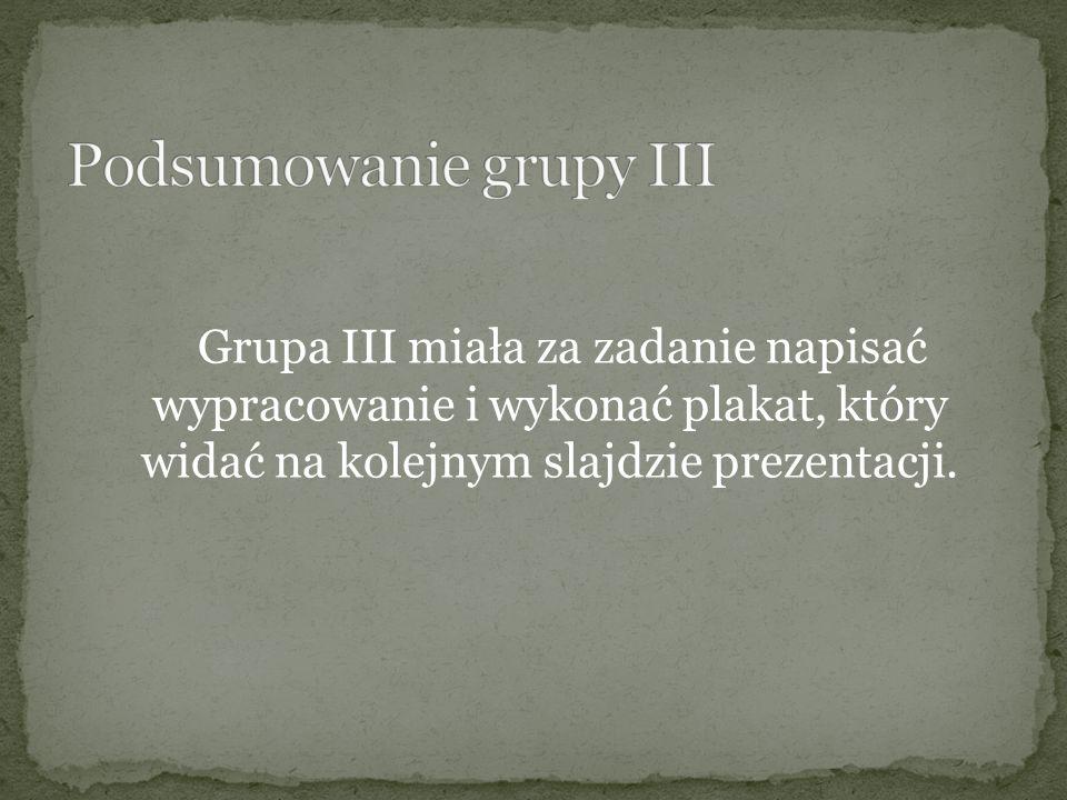 Podsumowanie grupy III