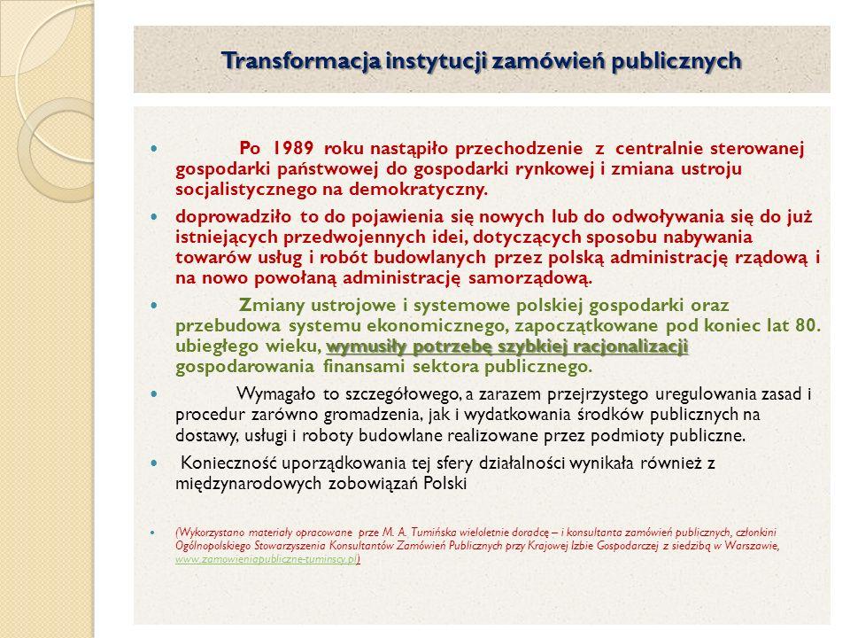 Transformacja instytucji zamówień publicznych
