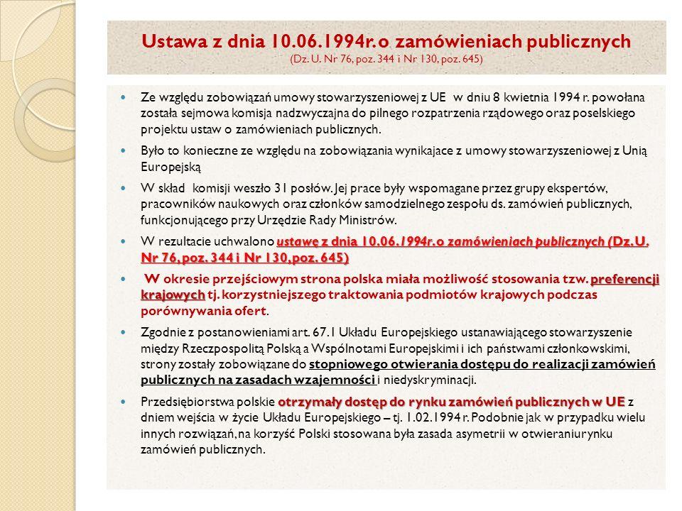 Ustawa z dnia 10. 06. 1994r. o zamówieniach publicznych (Dz. U