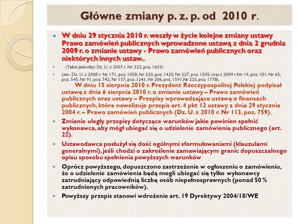 Główne zmiany p. z. p. od 2010 r.