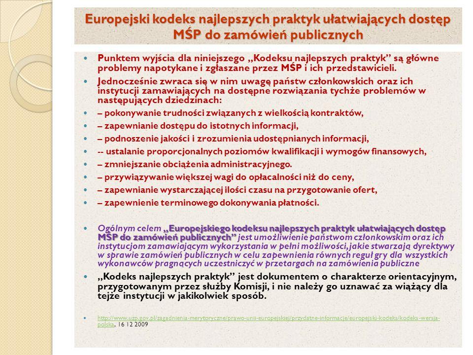 Europejski kodeks najlepszych praktyk ułatwiających dostęp MŚP do zamówień publicznych