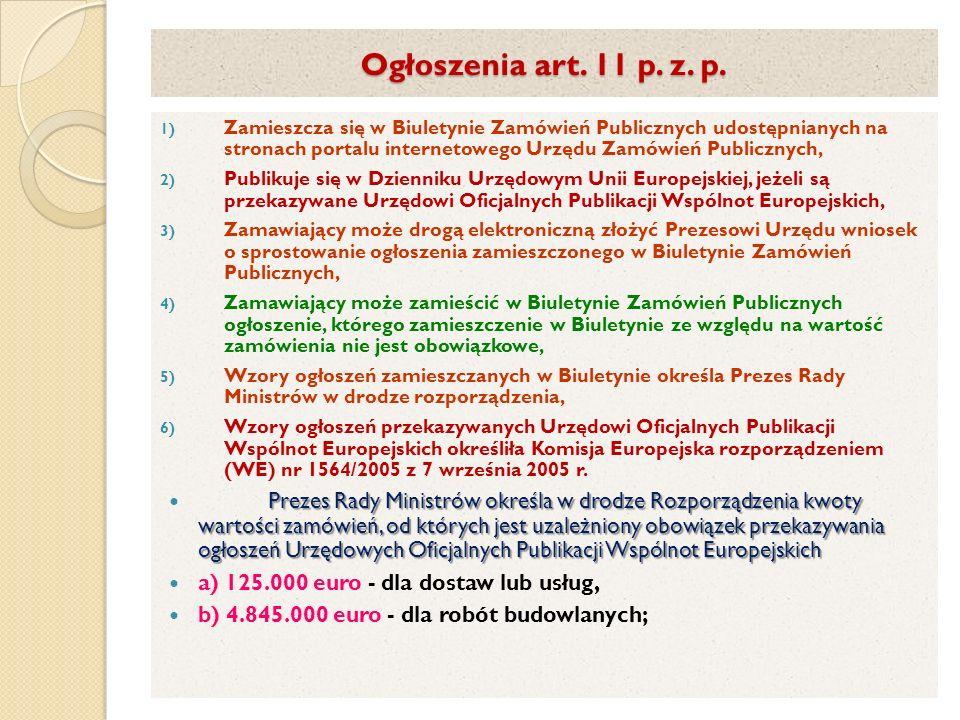Ogłoszenia art. 11 p. z. p.