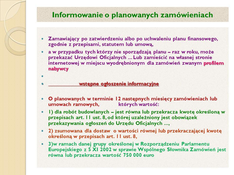 Informowanie o planowanych zamówieniach
