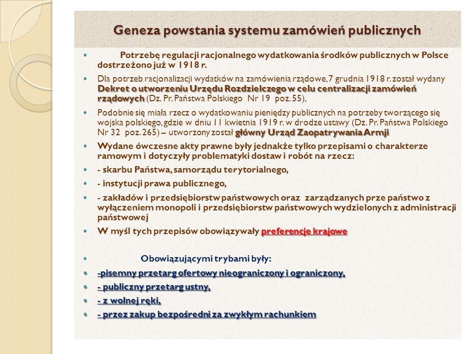 Geneza powstania systemu zamówień publicznych