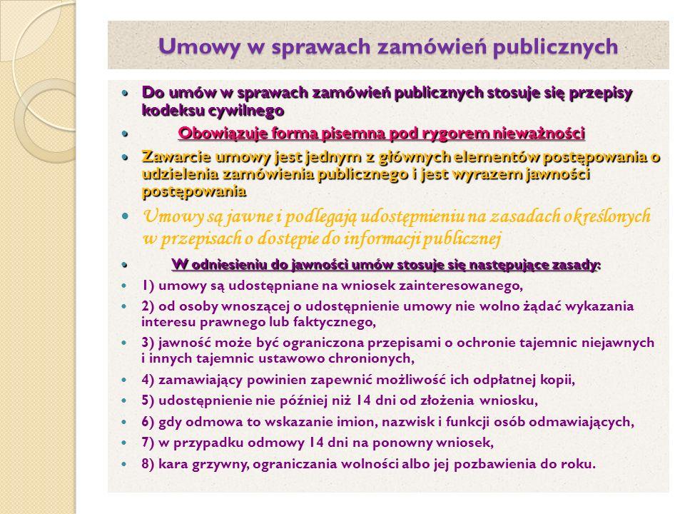 Umowy w sprawach zamówień publicznych