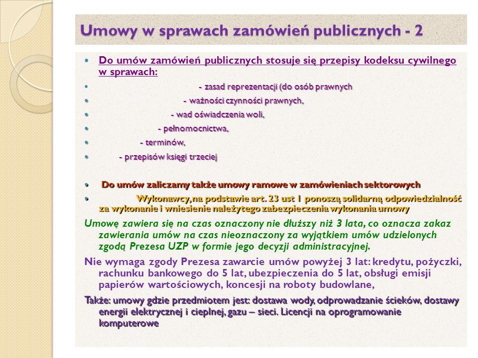 Umowy w sprawach zamówień publicznych - 2