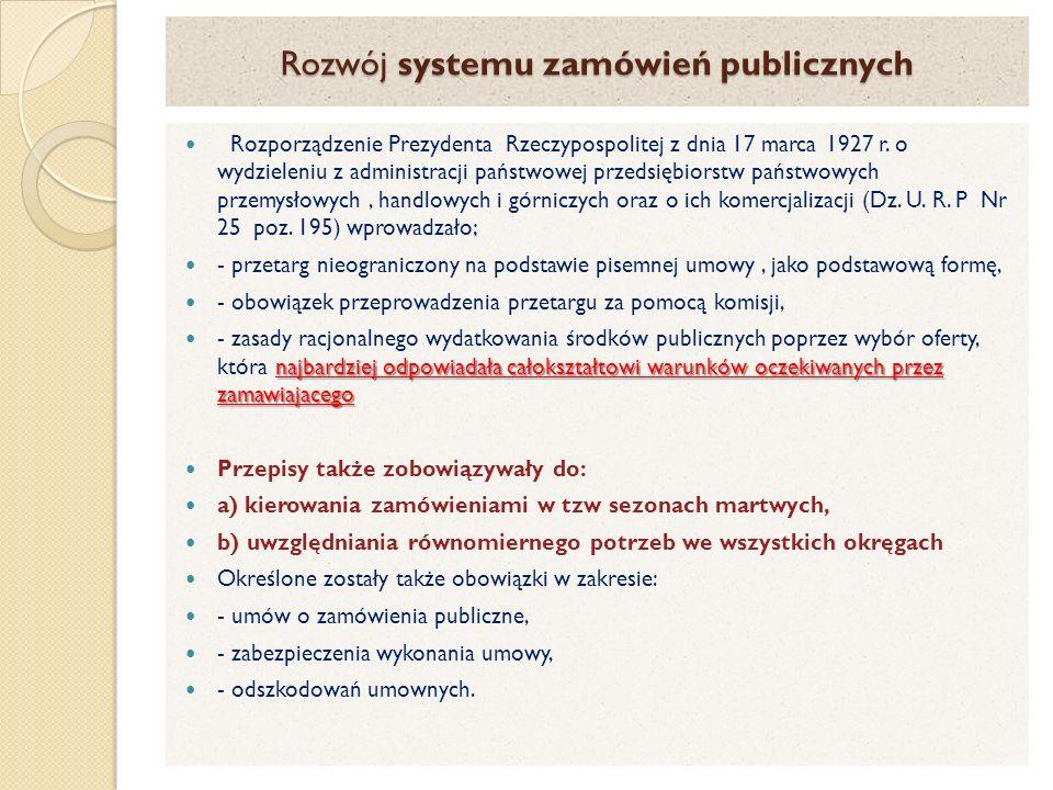 Rozwój systemu zamówień publicznych