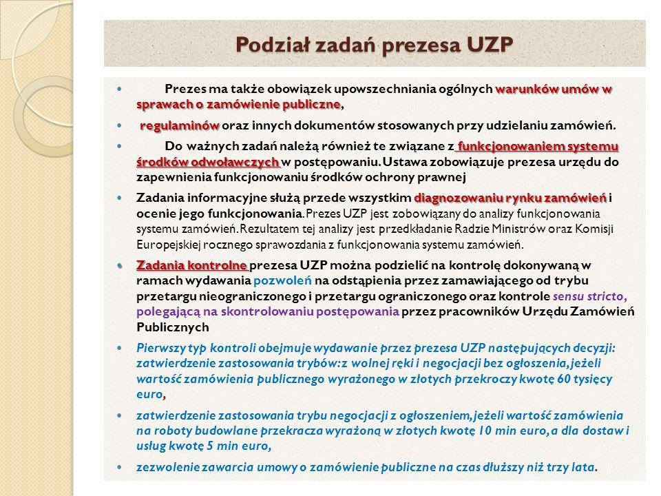 Podział zadań prezesa UZP