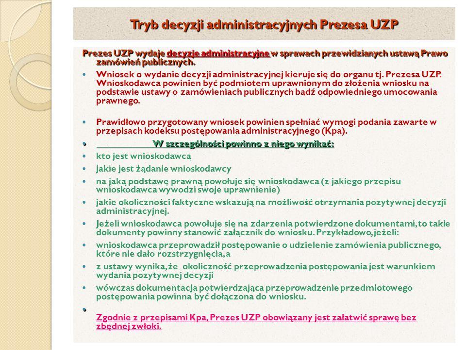 Tryb decyzji administracyjnych Prezesa UZP