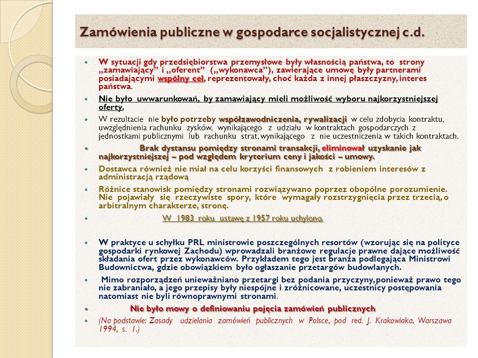 Zamówienia publiczne w gospodarce socjalistycznej c.d.