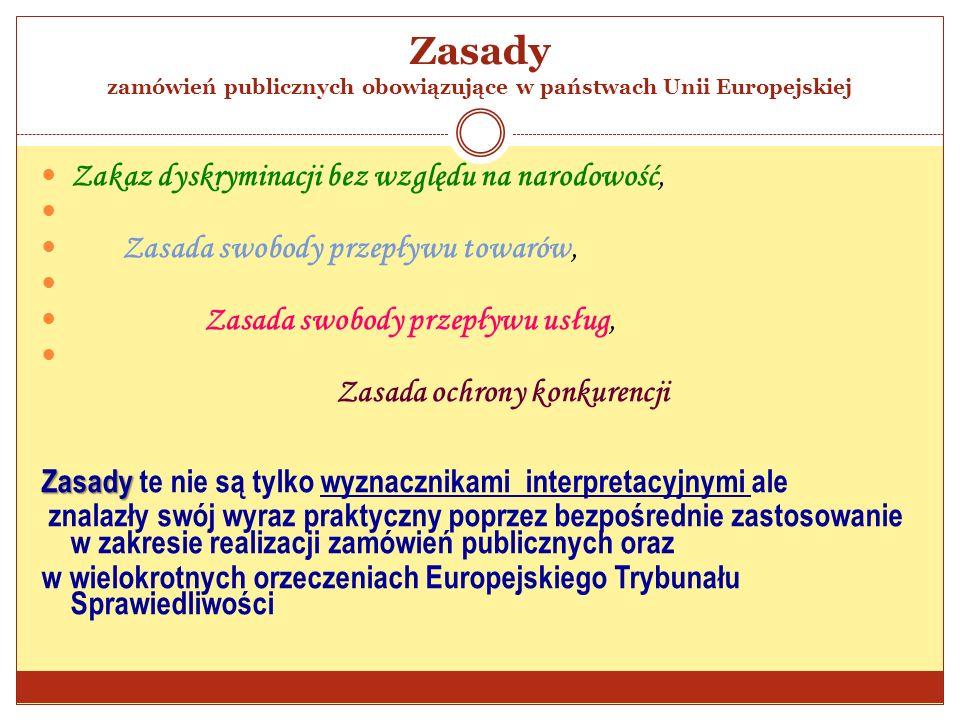 Zasady zamówień publicznych obowiązujące w państwach Unii Europejskiej