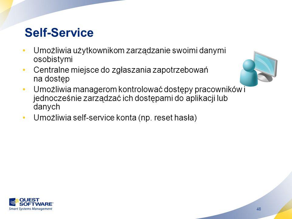Self-Service Umożliwia użytkownikom zarządzanie swoimi danymi osobistymi. Centralne miejsce do zgłaszania zapotrzebowań na dostęp.