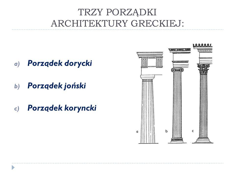 TRZY PORZĄDKI ARCHITEKTURY GRECKIEJ: