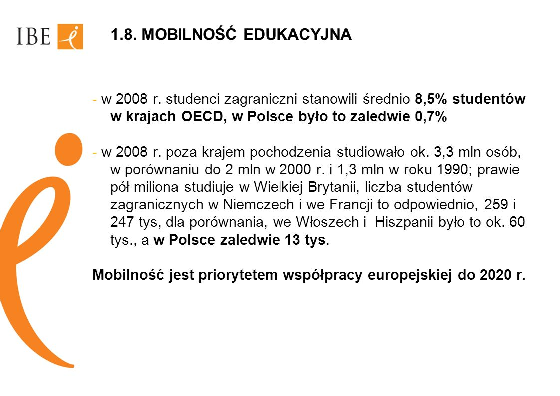 1.8. MOBILNOŚĆ EDUKACYJNA- w 2008 r. studenci zagraniczni stanowili średnio 8,5% studentów w krajach OECD, w Polsce było to zaledwie 0,7%
