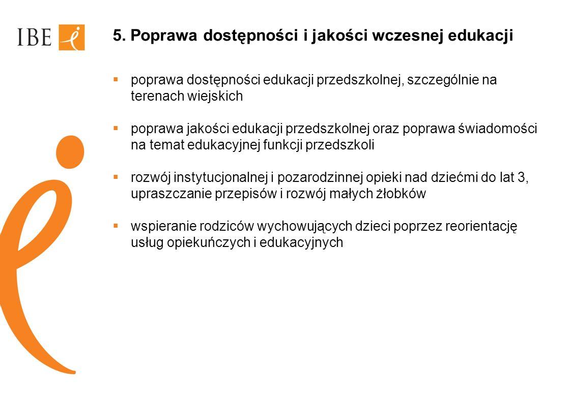 5. Poprawa dostępności i jakości wczesnej edukacji