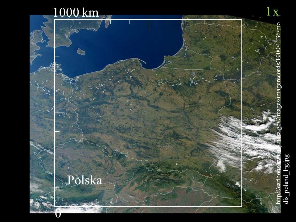 1000 km http://earthobservatory.nasa.gov/images/imagerecords/1000/1136/modis_poland_lrg.jpg. 1x. Polska.