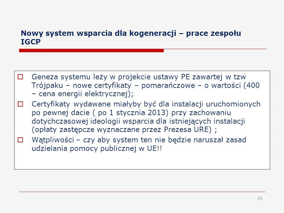 Nowy system wsparcia dla kogeneracji – prace zespołu IGCP