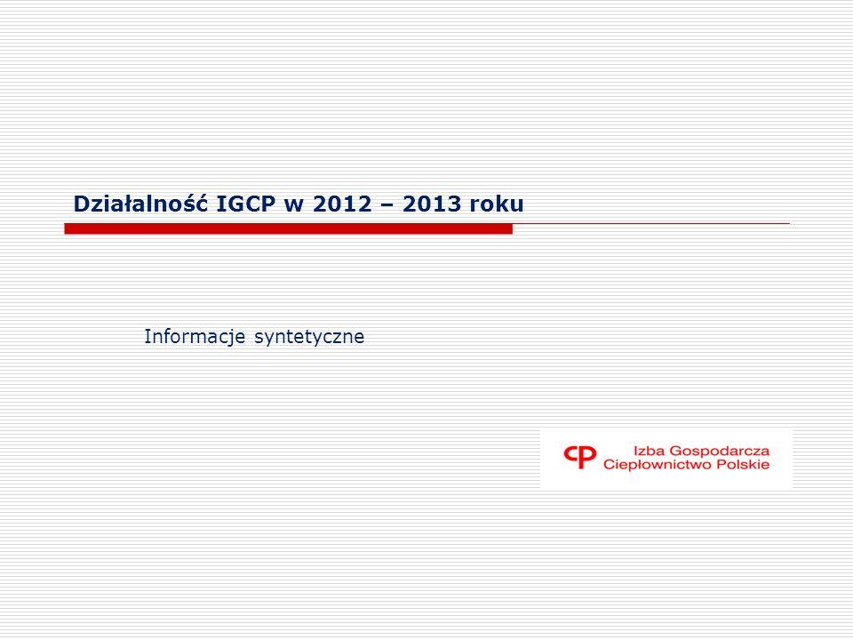 Działalność IGCP w 2012 – 2013 roku