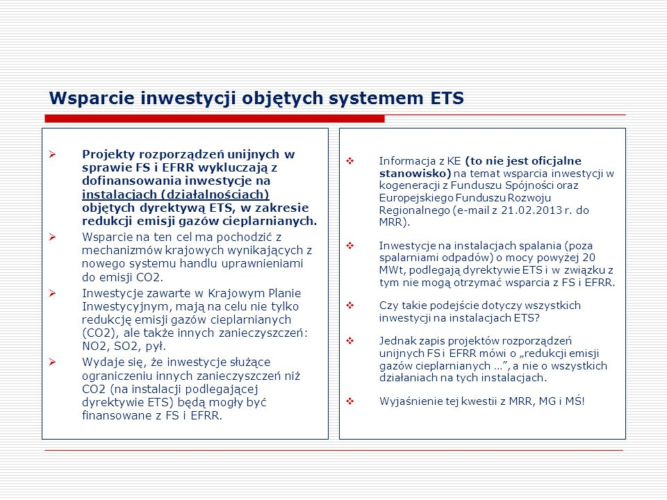 Wsparcie inwestycji objętych systemem ETS