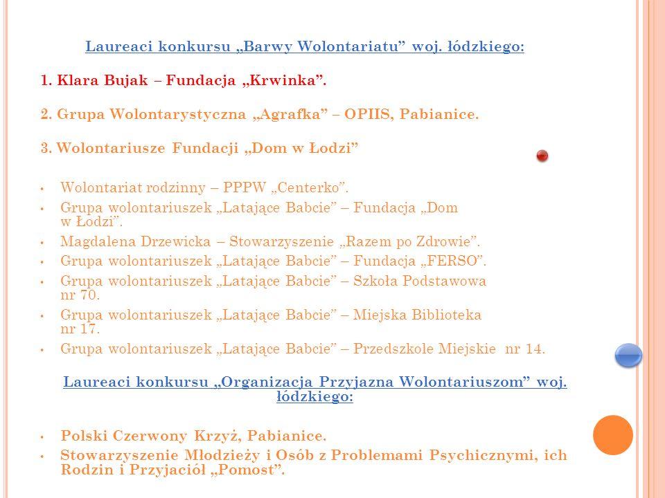 """Laureaci konkursu """"Barwy Wolontariatu woj. łódzkiego:"""