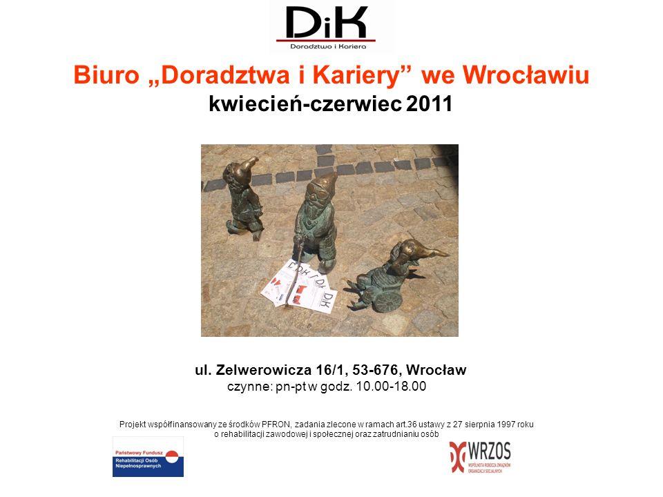 """Biuro """"Doradztwa i Kariery we Wrocławiu kwiecień-czerwiec 2011"""