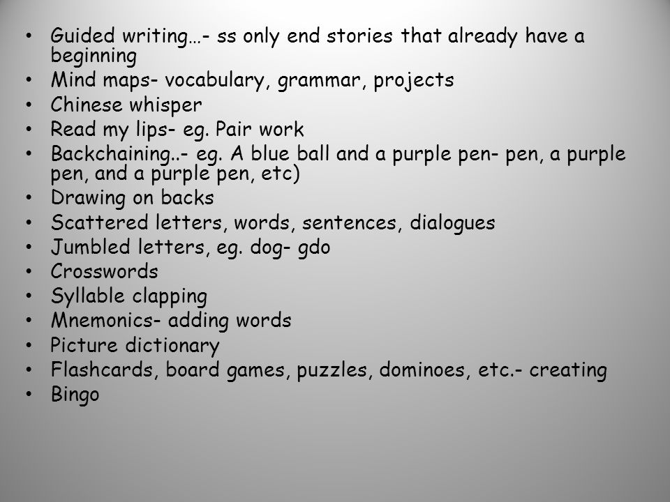 Guided writing…- ss only end stories that already have a beginning