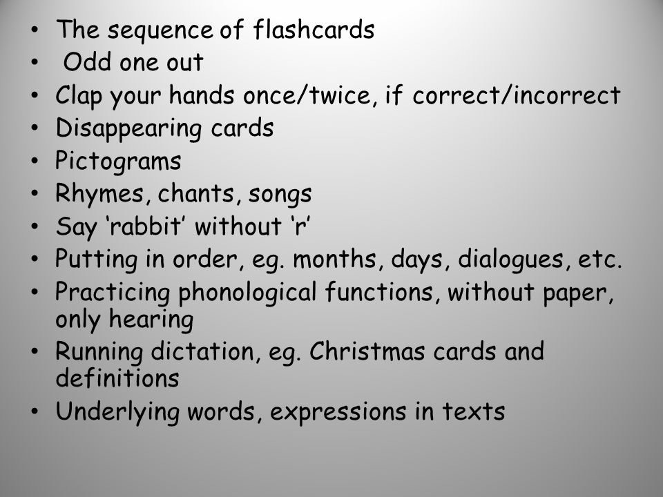 The sequence of flashcards