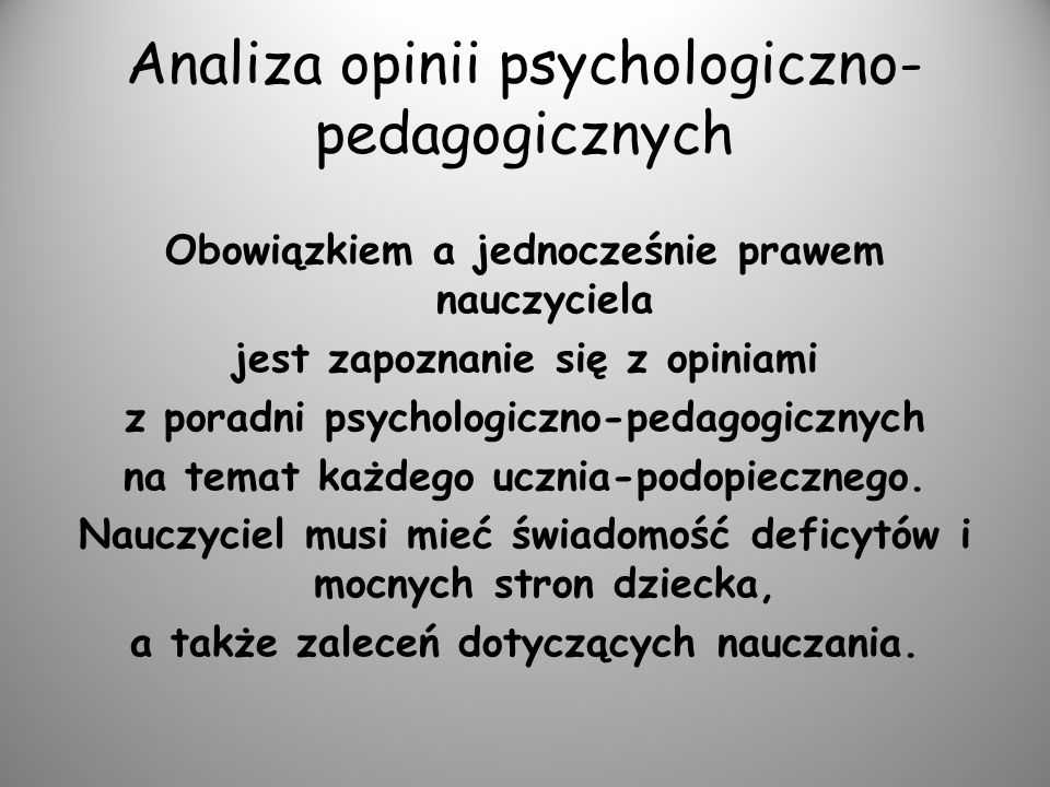 Analiza opinii psychologiczno-pedagogicznych