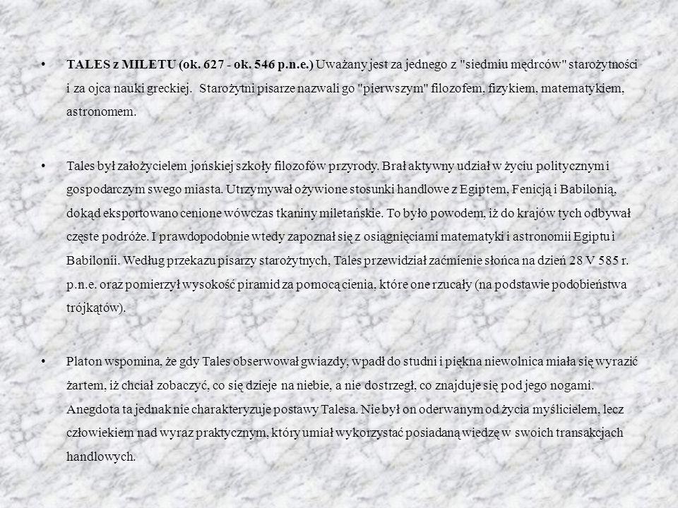 TALES z MILETU (ok. 627 - ok. 546 p. n. e