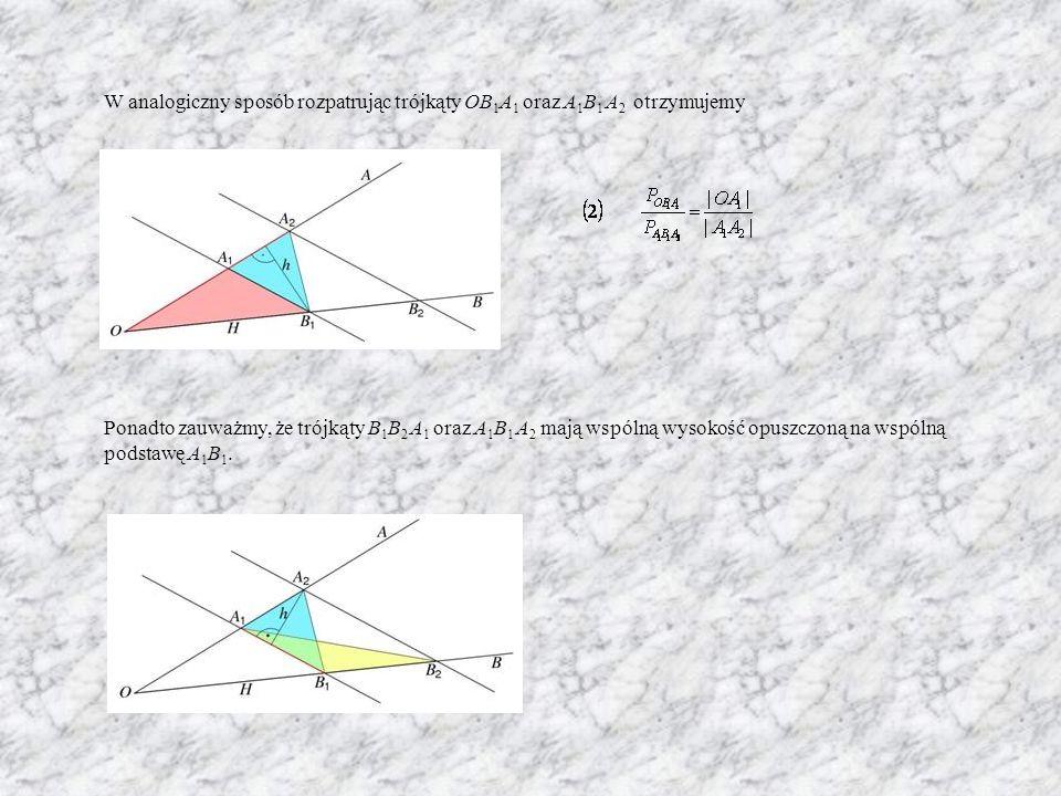 W analogiczny sposób rozpatrując trójkąty OB1A1 oraz A1B1 A2 otrzymujemy Ponadto zauważmy, że trójkąty B1B2 A1 oraz A1B1 A2 mają wspólną wysokość opuszczoną na wspólną podstawę A1B1.