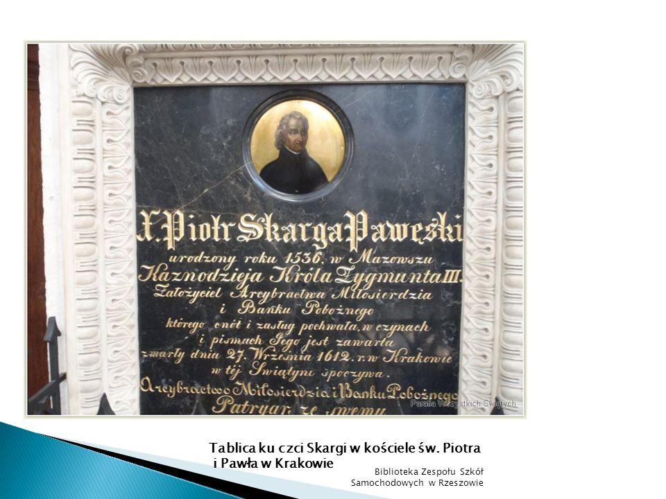Tablica ku czci Skargi w kościele św. Piotra i Pawła w Krakowie