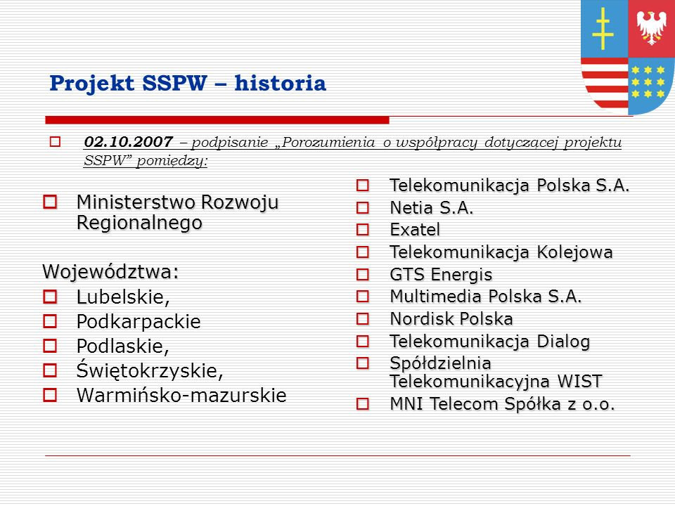 Projekt SSPW – historia