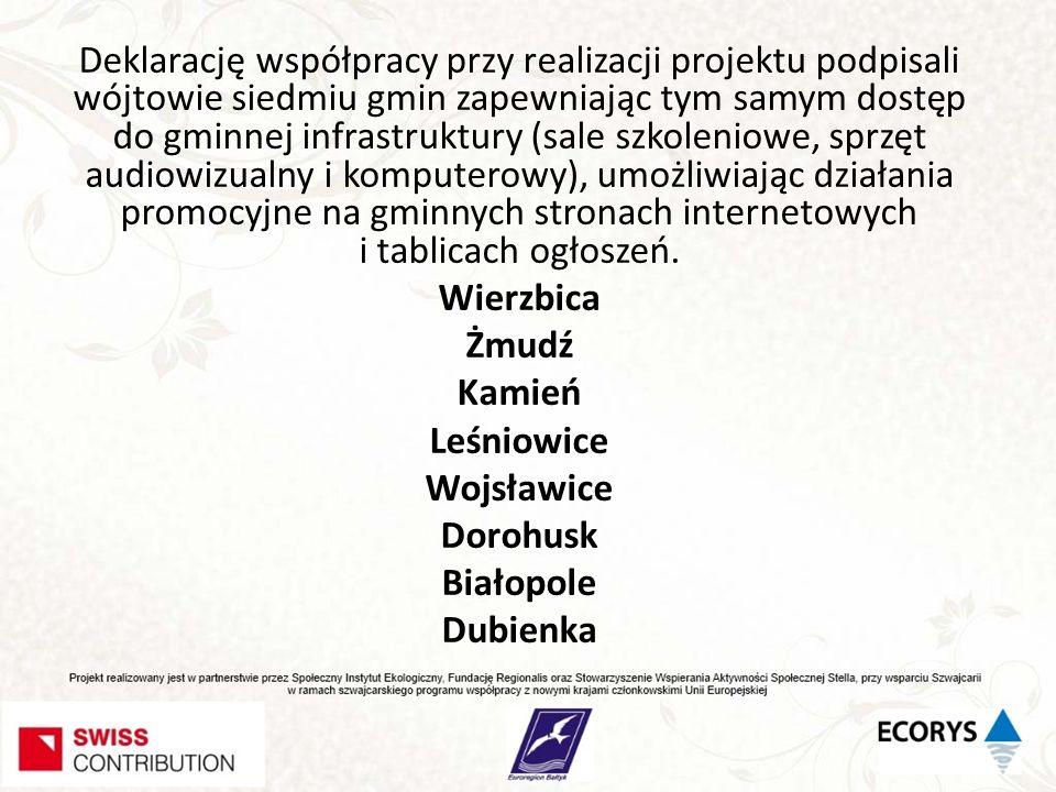 Deklarację współpracy przy realizacji projektu podpisali wójtowie siedmiu gmin zapewniając tym samym dostęp do gminnej infrastruktury (sale szkoleniowe, sprzęt audiowizualny i komputerowy), umożliwiając działania promocyjne na gminnych stronach internetowych i tablicach ogłoszeń.