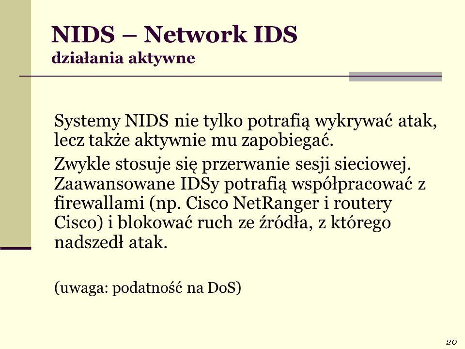 NIDS – Network IDS działania aktywne