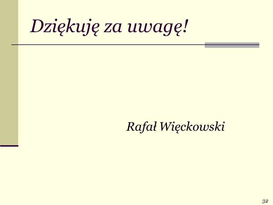 Dziękuję za uwagę! Rafał Więckowski