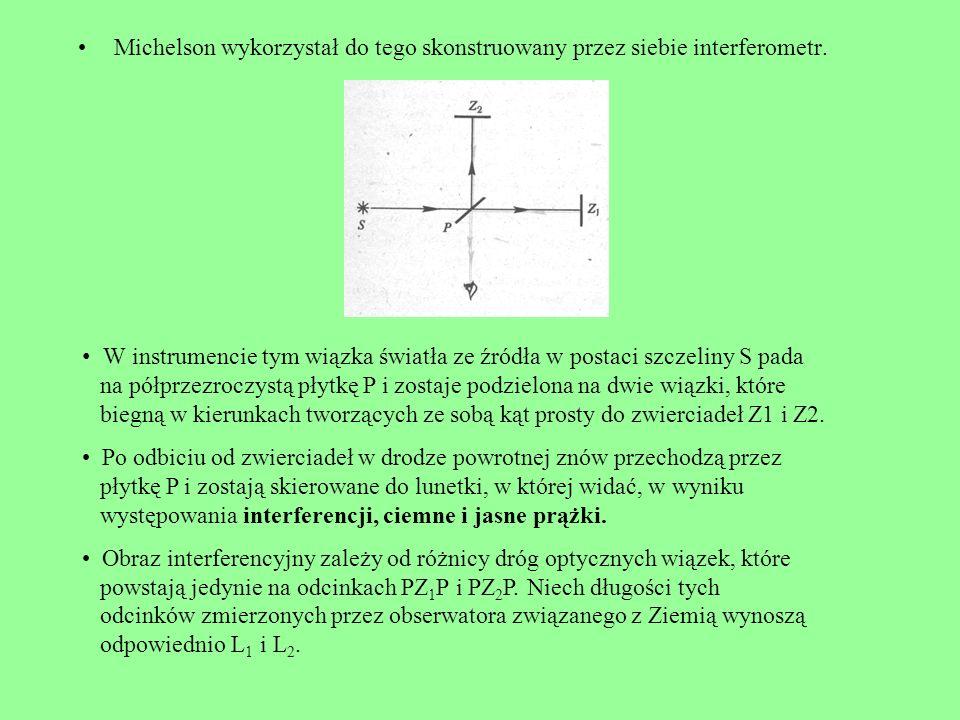Michelson wykorzystał do tego skonstruowany przez siebie interferometr.