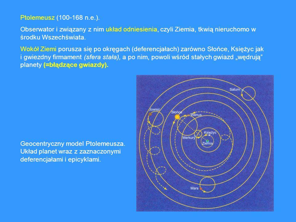 Ptolemeusz (100-168 n.e.).Obserwator i związany z nim układ odniesienia, czyli Ziemia, tkwią nieruchomo w środku Wszechświata.