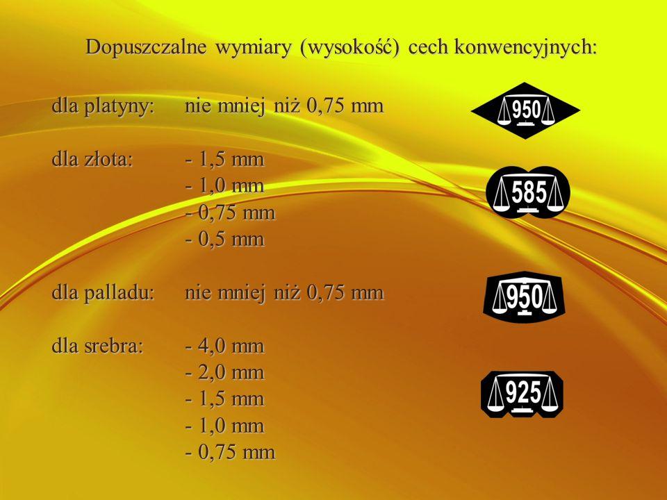 Dopuszczalne wymiary (wysokość) cech konwencyjnych: