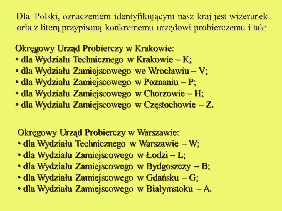 Dla Polski, oznaczeniem identyfikującym nasz kraj jest wizerunek orła z literą przypisaną konkretnemu urzędowi probierczemu i tak: