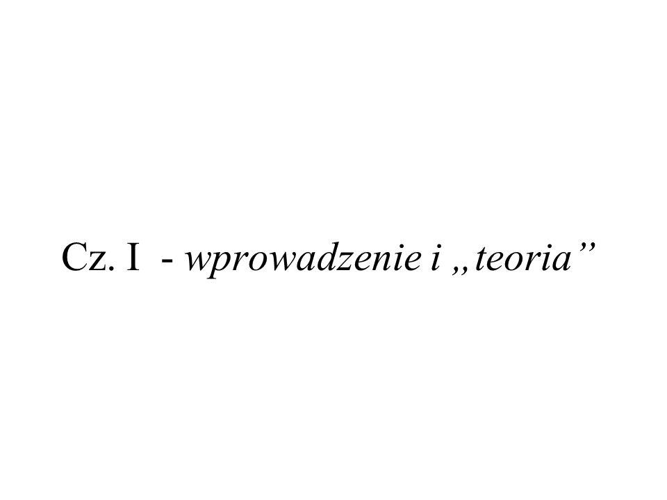 """Cz. I - wprowadzenie i """"teoria"""