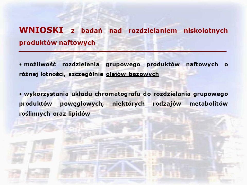 WNIOSKI z badań nad rozdzielaniem niskolotnych produktów naftowych