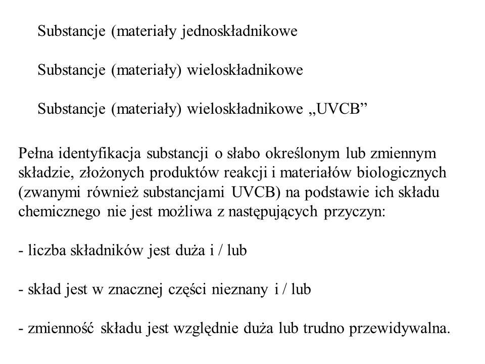 Substancje (materiały jednoskładnikowe