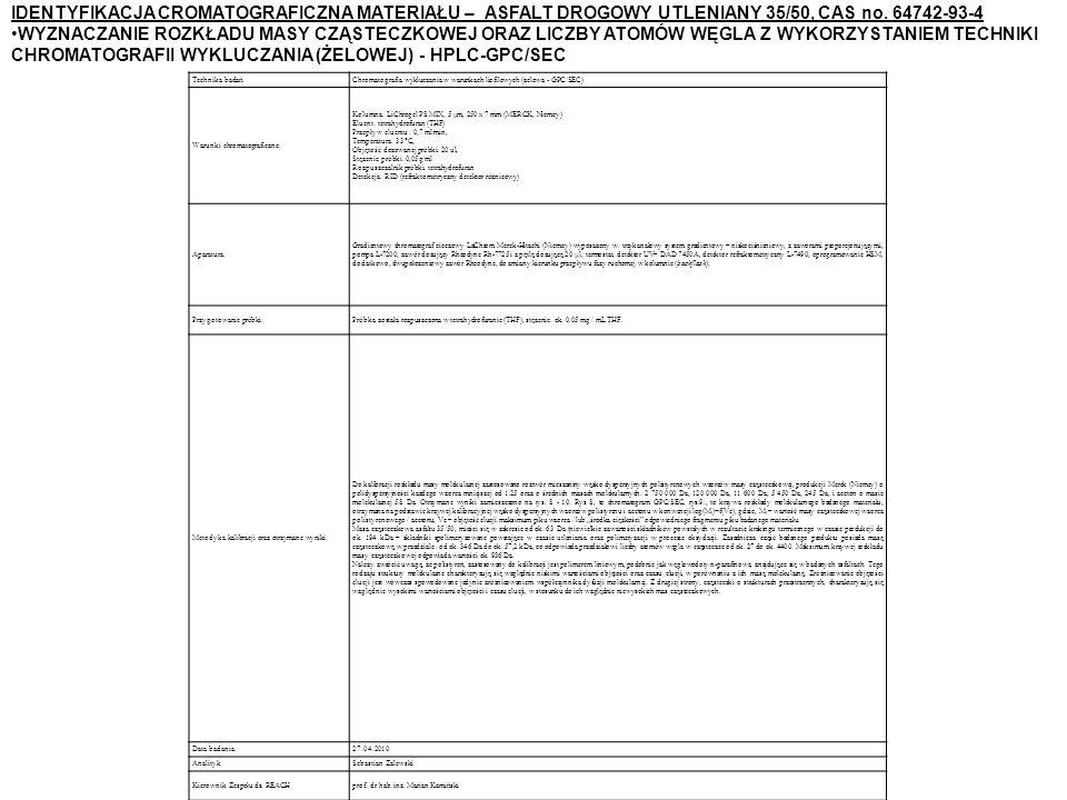 IDENTYFIKACJA CROMATOGRAFICZNA MATERIAŁU – ASFALT DROGOWY UTLENIANY 35/50, CAS no. 64742-93-4