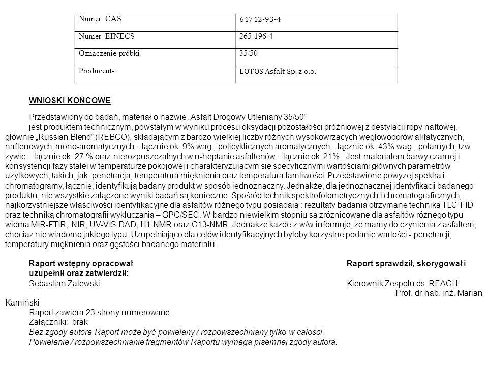 Numer CAS 64742-93-4. Numer EINECS. 265-196-4. Oznaczenie próbki. 35/50. Producent: LOTOS Asfalt Sp. z o.o.