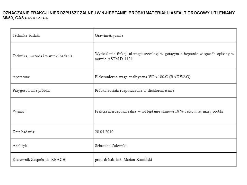 OZNACZANIE FRAKCJI NIEROZPUSZCZALNEJ W N-HEPTANIE PRÓBKI MATERIAŁU ASFALT DROGOWY UTLENIANY 35/50, CAS 64742-93-4