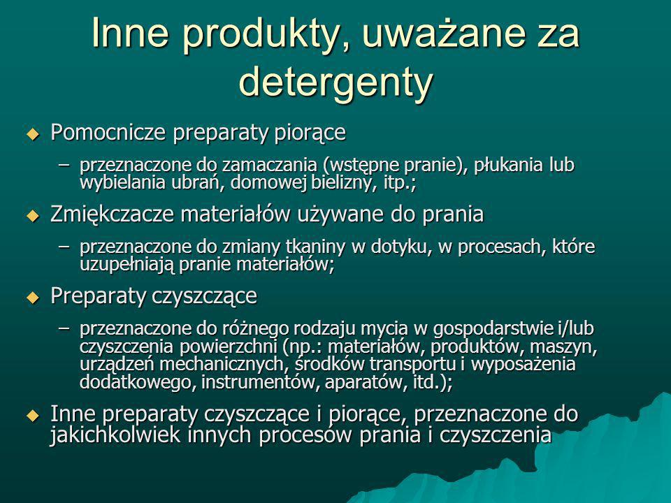 Inne produkty, uważane za detergenty