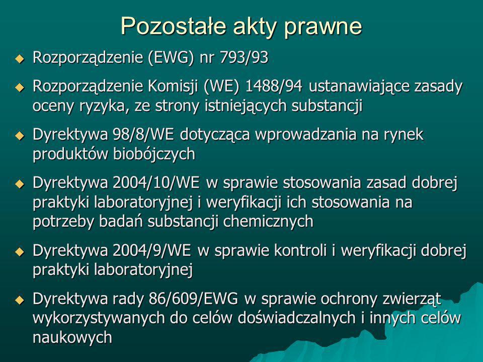 Pozostałe akty prawne Rozporządzenie (EWG) nr 793/93