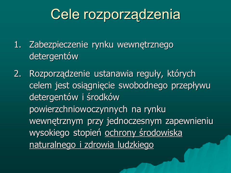 Cele rozporządzenia Zabezpieczenie rynku wewnętrznego detergentów