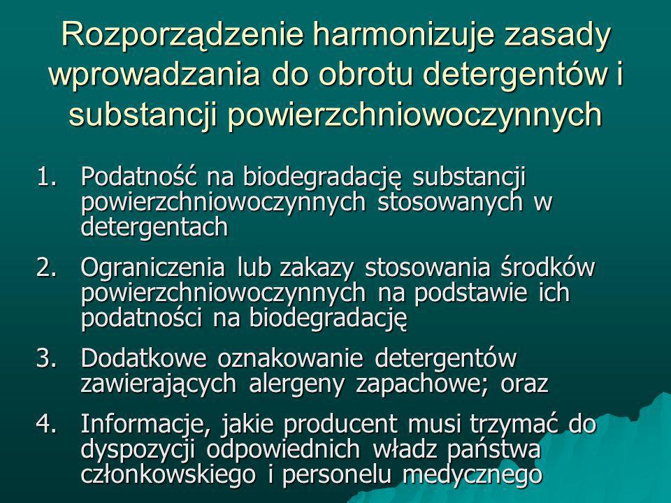 Rozporządzenie harmonizuje zasady wprowadzania do obrotu detergentów i substancji powierzchniowoczynnych